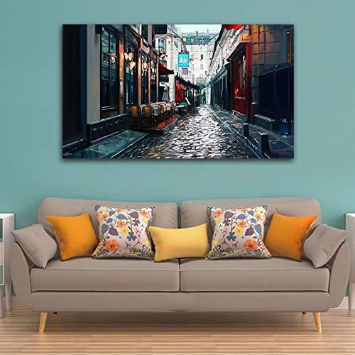 KWzEQ New York City Nacht Kunstdruck abstrakte Leinwand Wandkunst Ölgemälde Home Decoration Landschaft Kunst50X80cmRahmenlose Malerei
