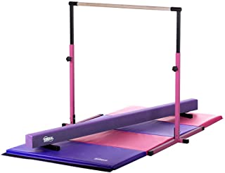 Little Gym - Adjustable Horizontal Bar - Purple Low Balance Beam - Pink/Purple Gymnastics Folding Mat
