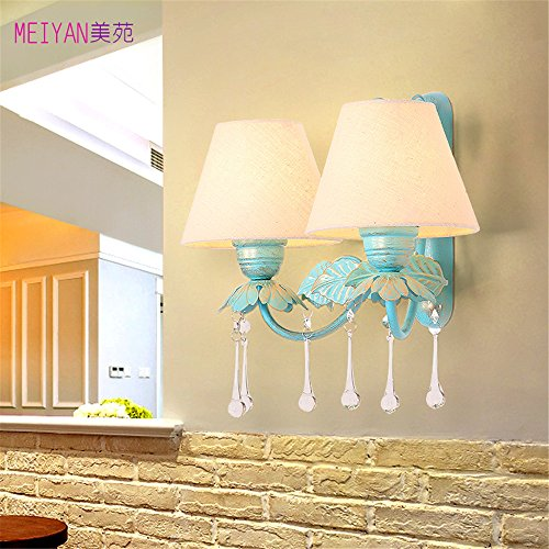 DengWu wandverlichting De blauwe mediterrane wandlampen Amerikaanse landelijke stijl woonkamer muur lampen slaapkamer achtergrond bedlampje verlichting en planten