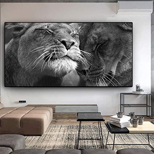 N / A Nero Bianco Africa Animali Selvaggi Quadri e Stampe su Tela Quadri e Quadri Immagini Decorazioni per Soggiorno Senza Cornice A 30x60CM
