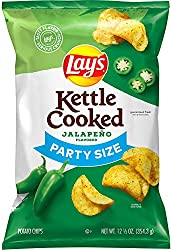 Lay's Kettle Cooked Potato Chips, Jalapeno, 12.5oz Party Size Bag