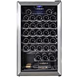 SMETA 33 Bottle Compressor Wine Cooler Refrigerator | Large Freestanding Temperature Control Fridge Cellar 39.2℉~64.4℉ For Red, White, Champagne or Sparkling Wine, Glass Door Stainless Steel