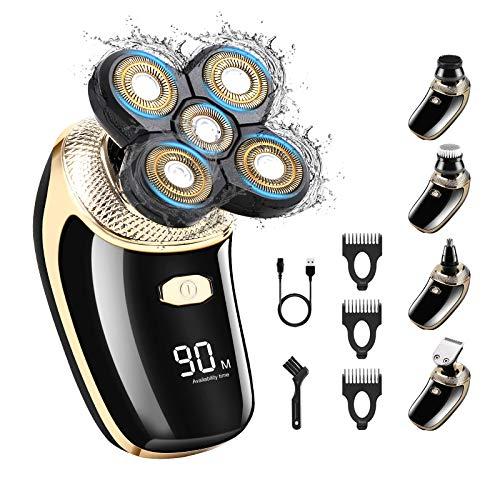 Rasoio elettrico rotante, Rasoio USB bagnato e asciutto per uomo, Rasoio da barba elettrico Kit per toelettatura 5-in-1 senza fili con spazzola per la pulizia del viso Trimmer elettrico a testa calva