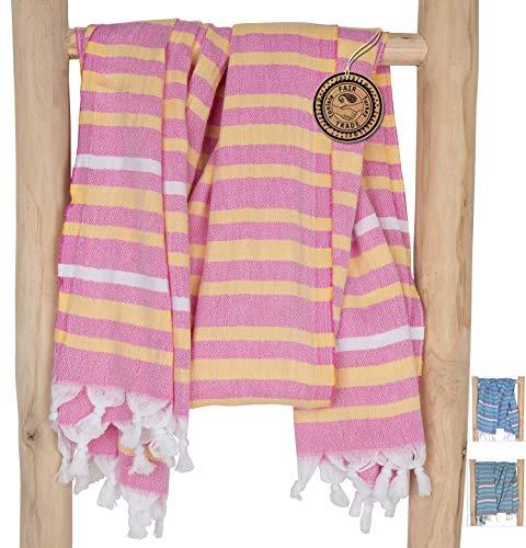 ZusenZomer Hamamtuch XXL Ibiza 150x210 Rosa Gelb - Fouta Hammam Tuch Groß Pestemal Strandtuch Damen - 100% Baumwolle Handgewebt - Fair Trade Hamam Tücher