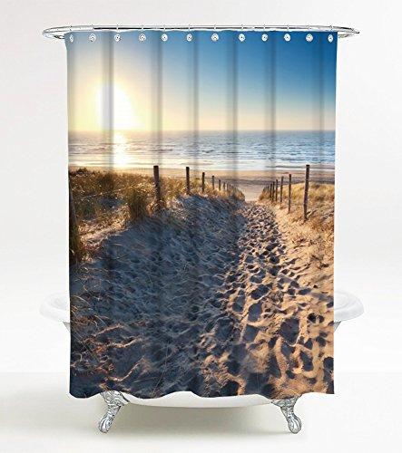 Duschvorhang Düne 180 x 200 cm, hochwertige Qualität, 100% Polyester, wasserdicht, Anti-Schimmel-Effekt, inkl. 12 Duschvorhangringe