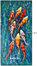 SANSNMI Hand Painted Traditional Chinese Landscape Oil Painting Nine Koi Fish Painting On Canvas Wall Art Picture For Livi...