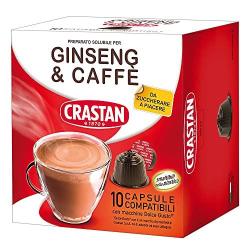 Crastan Capsule Compatibili Dolce Gusto - Ginseng & Caffè - 10 confezioni da 10 capsule [100 capsule]