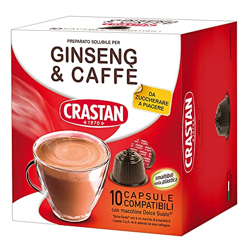 Crastan Capsule Compatibili Dolce Gusto - Ginseng & Caffè Da Zuccherare - 1 confezione da 10 capsule