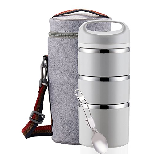 Lille Home Stackable Stainless Steel Thermal Compartment Lunch Box | 3-Tier Insulated Bento Box/Food Container with Insulated Lunch Bag and Foldable Stainless Steel Spoon | Women, Men (Grey)