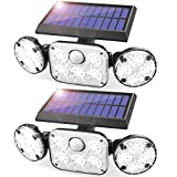 Solar Motion Lights Outdoor, 2 Pack RJFOYB 3 Heads Solar Flood Lights Outdoor with Motion Sensor, Adjustable 78 LED Solar Security Lights, 270°Wide Angle, IP65 Waterproof, for Garage Yard Garden Porch