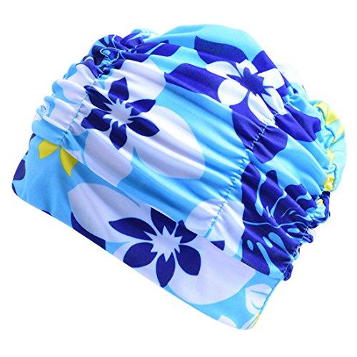 Boomly Unsex Badekappe Tab Schwimmhaube Mode Gemütlich Stoff Bademütze Zum Lange Haare Damen Mädchen Schwimmkappe (Hell Blau)