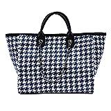 Fashion Houndstooth Handbags for Women Large Tote Purses Designer Ladies Shoulder bag for Work (Blue)
