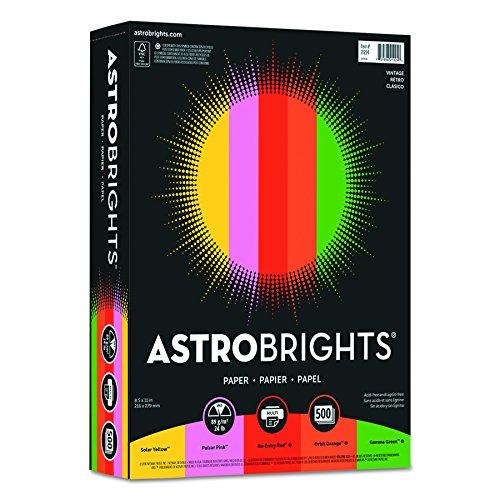 Astrobrights Colored Paper, 8.5u0022 x 11u0022, 24lb/89 gsm,u0022Vintageu0022 5-Color Assortment, 500 Sheets (21224)
