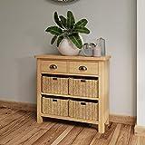 Furniture Octopus Dovedale Oak Sideboard Storage Cabinet/Solid Wicker Basket Cupboard Unit