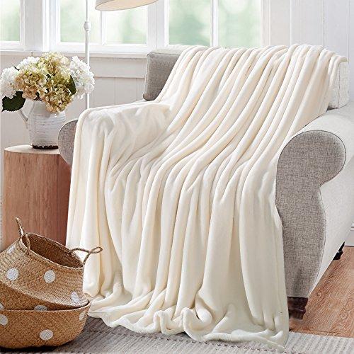 Reafort Ultra Soft Flannel Fleece All Season 350GSM Light Weight Living Room/Bedroom Warm Throw Blanket (Cream, King 108'X92')