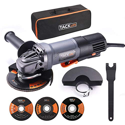 TACKLIFE Angle Grinder, Powerful 11 Amp Grinder Tool With Safe Paddle Switch, 4-1/2-Inch Power Grinders With 1 Grinding Wheel, 1 Cutting Wheel, 1 Flap Disc, 2 Wheel Guards, 1 Carrying Bag - P3AG115
