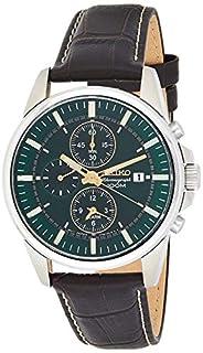 Seiko Herren Chronograph Quarz Uhr mit Leder Armband SNAF09P1 (B008UY3TFG) | Amazon price tracker / tracking, Amazon price history charts, Amazon price watches, Amazon price drop alerts