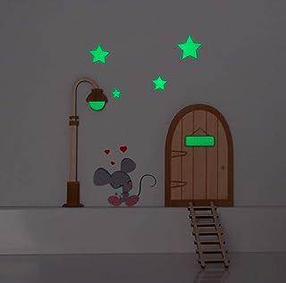 Kit Ratoncito Pérez vinilo. Farola y estrellas que brillan en la oscuridad. Puerta mágica, farola y escalera de madera par...