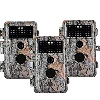 Folgtek 3pcs Trail Camera 20MP 1080P Game Cam Wildlife Cam H.264 MP4/MOV Video Night Vision Motion Activated IP66 Waterproof for Hunting