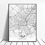 NOVELOVE Lille Stadt Frankreich Karte Poster HD Drucke