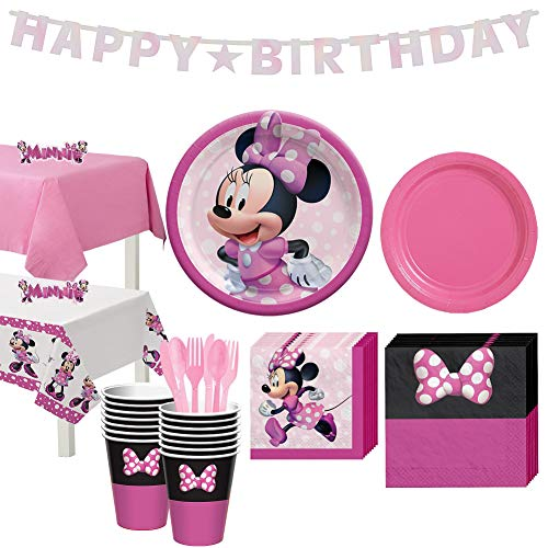 Party City Minnie Mouse Forever Tableware for 16 Guests, Disney Plates, Napkins, Cups, Utensils, and Decorations