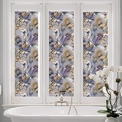 N / A Iris Nicht klebende dekorative Fensterfolie undurchsichtige Privatsphäre Selbstklebende Glasfolie Glasmalerei Fensterdekorfolie A50 40x200cm
