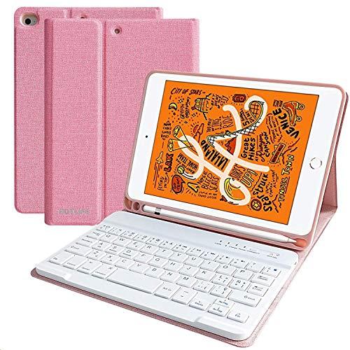 HOTLIFE Funda Teclado para iPad Mini 5 2019/Mini 4 2015, Funda 7.9'' con Ranura de Lápiz y Teclado Español (Incluye Letra Ñ) Bluetooth Inalámbrico para iPad Mini 5/Mini 4 con Soporte Multiángulo(Rosa)