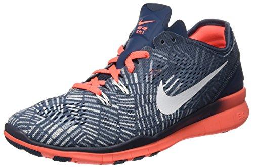 Nike Damen Free 5.0 Tr Fit 5 Prt Leichtathletikschuhe, Blau (Squad Blue/Weiß Helles Mango - Blau/Grau 406), 37.5 EU