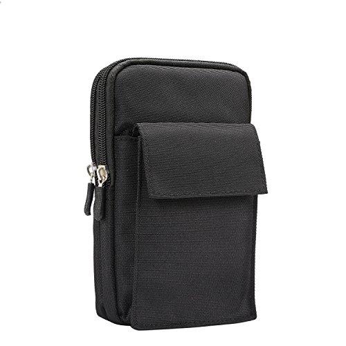 Nylon Taille Tasche Geldbörse Umhängetasche Smartphone Tasche Schutzhülle für LG G7thinq/LG V30/LG V35thinq/LG Stylo 4/Motorola Moto G6Plus/G6Play/E5Plus/Z3Play, Schwarz