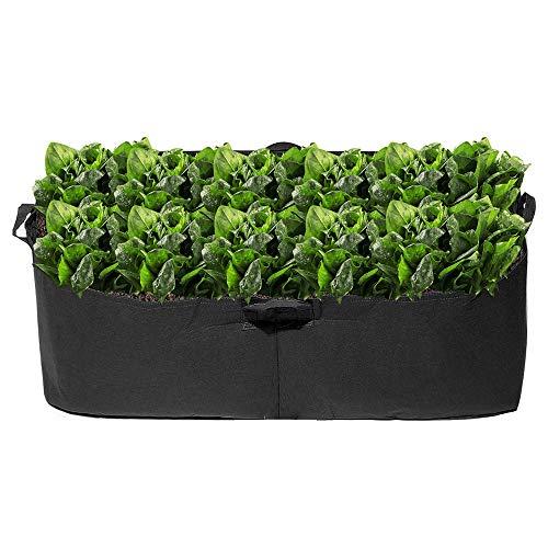 120x60x20cm Grow Bags 300G Verdickter Stoff Gartenbett Quadratische Blume Pflanzentopf Behälter für Kartoffel Karotte Zwiebel Taro Pflanze Zuchttöpfe mit Griffen (Schwarz)