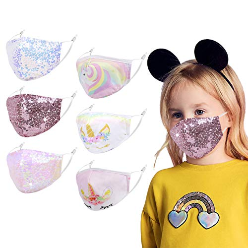 Kids Cute Unicorn Face Mask, Pink Facemask Little Toddler Girl Youth Teen, Washable Reusable Breathable Adjustable Cotton Fabric Cloth Sequin...