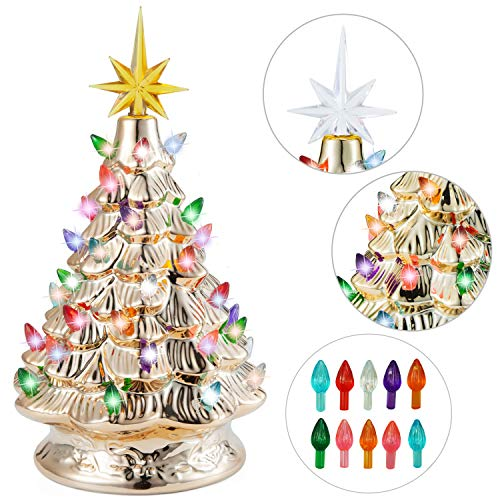 Joiedomi 12' Gold Ceramic Christmas Tree, Prelit Tabletop Christmas Tree with Extra Yellow Star Topper & Bulbs for Best Xmas Decoration
