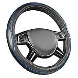 Amazon Basics - Cubierta para volante de cuero sintético, 38 cm (38,1 cm), negro y azul