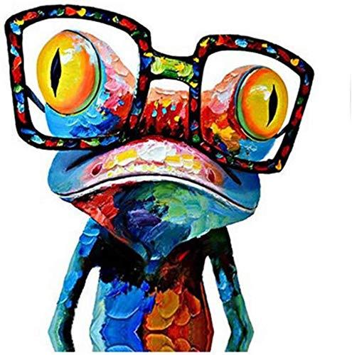 """Surfilter Druck auf Leinwand Abstrakte Farbe Frosch Tiere Poster Drucke Wandkunst Leinwand Malerei Bild Ölgemälde Für Zuhause Dekorativ 19.6"""" x19.6"""" (50x50cm) Kein Rahmen"""