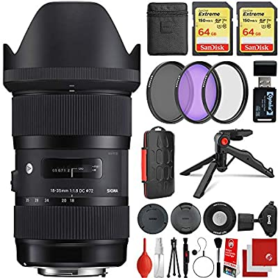 Sigma 18-35mm f/1.8 DC HSM Art Lens Nikon F-Mount Bundle with 2X 64GB Memory Cards, IR Remote, 3 Piece Filter Kit, Wrist Strap, Card Reader, Memory Card Case, Tabletop Tripod from SIGMA
