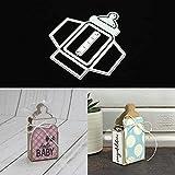 Lai-LYQ Stanzmaschine Stanzschablone, 3D Milchflasche Box Scrapbooking Prägeschablonen Handwerk Festival Geschenk Silver