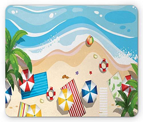 Graphic Beach Mouse Pad, Luchtfoto Cartoon van Zomer Vakantie Plezier met Parasols Handdoeken met Oceaan, Mousepad muismat