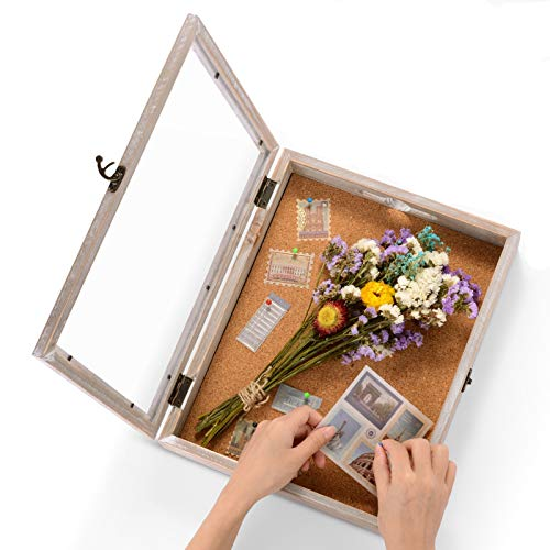 Shadow Box Frame Memory Box Display Case Picture Frame for Keepsakes Ticket Wine Cap with 12 Stick...