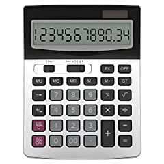 Two-way Power: Solar and Battery (One AA battery NOT included). Round functionality and decimal point adjustment. Large 12-digit display. Tax and Currency conversion, Function and Command Signs. On and Off buttons, Profit margin %, +/- , √, Key Rollo...