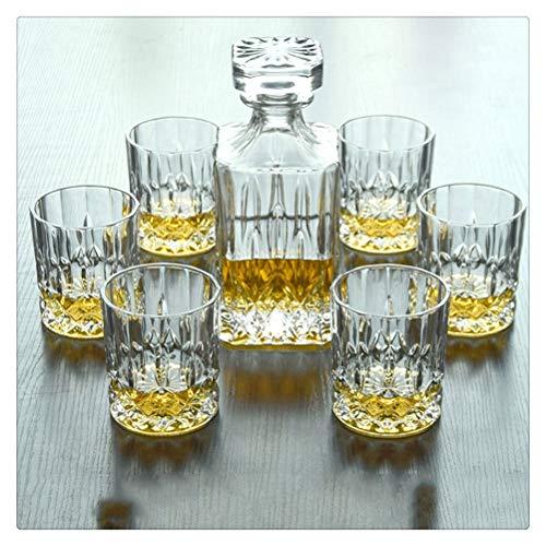RongWang Juego De Decantador De Whisky Sin Plomo con 6 Copas De Vino De Whisky para Alcohol Bourbon Scotch Juego De 7 Piezas (Color : 7 Pcs Set)