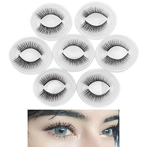 Naturel Fluffy style faux cils, longs et épais, doux et confortable pour agrandir les yeux, réutilisables Artisanale (7 paires)