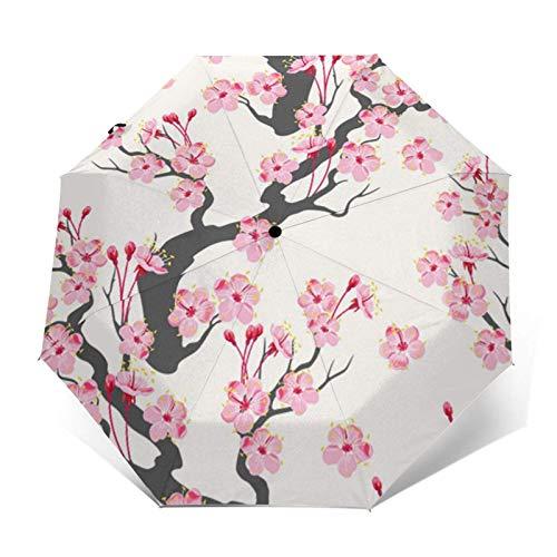 Paraguas automático de tres pliegues con diseño de flores de cerezo rosa que puede prevenir el viento, la lluvia y los rayos UV.