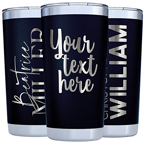 Personalized Tumblers w/Splash Proof Lid - 20oz Black - Vacuum Insulated Travel Coffee Mugs - Stainless Steel Double Wall Tumbler - Personalized Cups...