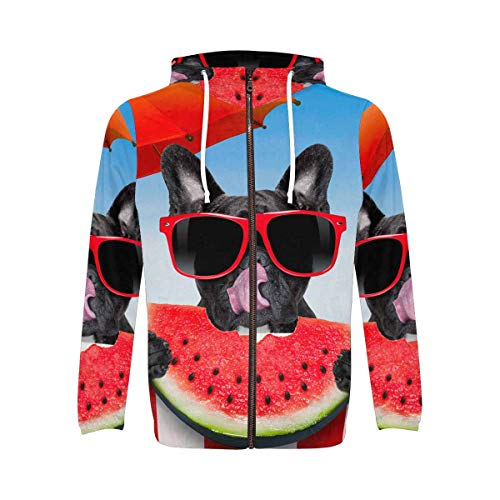 InterestPrint All Over Print Zip Up Hoodie Sweatshirt with Pocket for Men French Bulldog Eating Watermelon 4XL
