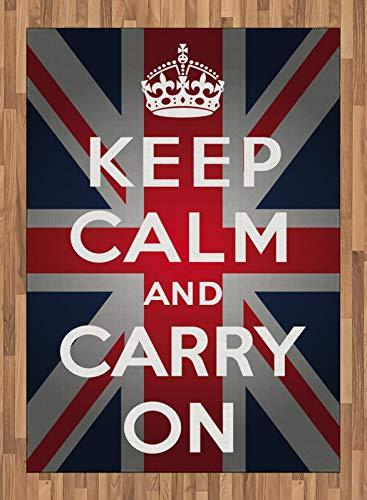 ABAKUHAUS Bandera de Reino Unido Alfombra de Área, Palabras Corona de la Bandera del Reino Unido, Ideal para Sala de Estar o Comedor Resistente a Manchas, 160 x 230 cm, Azul Marino Blanco Rojo