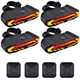 USPUERINK Smart Bike Tail Light with Turn Signals and Automatic Brake Light Wireless Remote Control Bike Rear Light Back USB Rechargeable Safety Warning Cycling Light with Anti-Theft Function, 4 Pack
