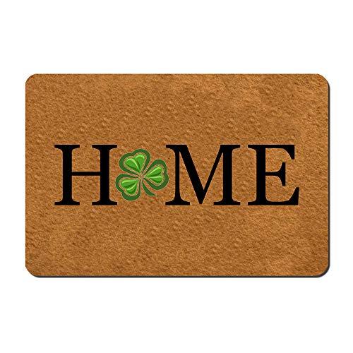 Msimplism.D Doormat Home Decor Funny Doormat Home Shamrock Mat St. Patrick's Day Doormat Monogram Doormat Indoor Outdoor Rubber Welcome Mat Non-Slip Backing Entry Way Doormat 23.6 x 15.7 Inch