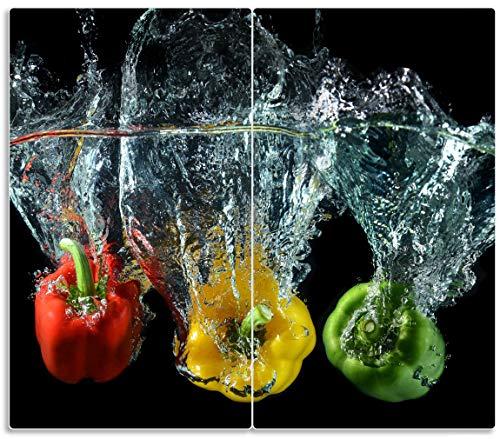 Herdabdeckplatte / Spritzschutz aus Glas, 2-teilig, 60x52cm, für Ceran- und Induktionsherde, Paprika-Mix - frische Paprika in rot, gelb und grün im Wasser