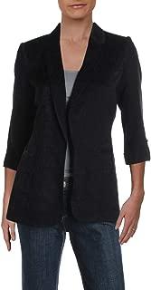 Womens Petites Open Front 3/4 Sleeve Jacket Black 8P