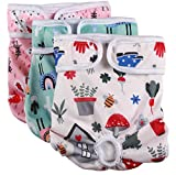 vecomfy Dog Diapers Female for Small Dogs,(3 Pack) Premium Washable Reusable Leakproof New Born Puppy Nappies,S
